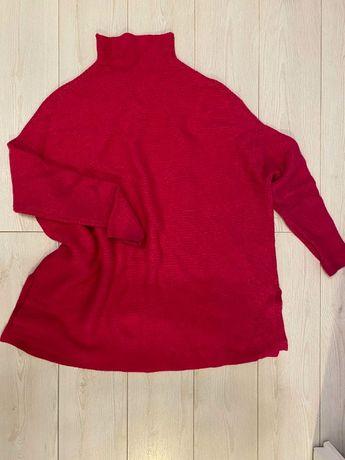 Golf półgolf sweter damski zimowy różowy PINK oversize 38 46 42