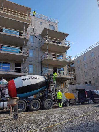 Pompowanie betonu, pompa do betonu, posadzki przemysłowe, anhydrytowe.