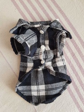 ubranko XS koszula w kratę dla małego pieska York Chiuaua a'la flanela