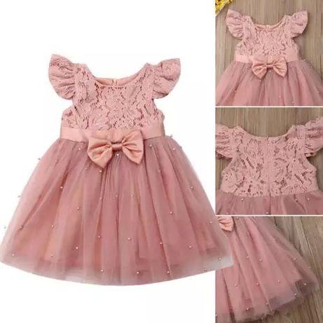 Платье пудровое на 1 годик 2 3 4 80-86 см. детское дитяче плаття рочок