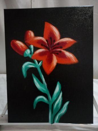 Картина ,, Алая лилия ,, 40x30 масло , холст на подрамнике .