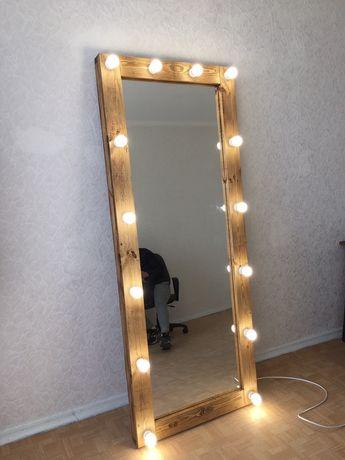 гримерное зеркало в полный рост; визажное зеркало с лампочками ,