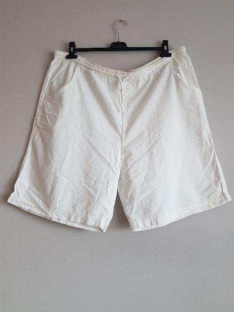 szorty biała płótno bawełna płócienne duży rozmiar spodenki 56 58