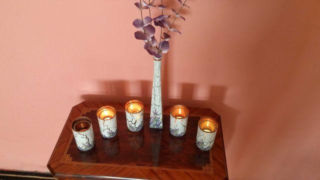 Świeczniki 5 szt plus wazonik na kwiaty - komplet