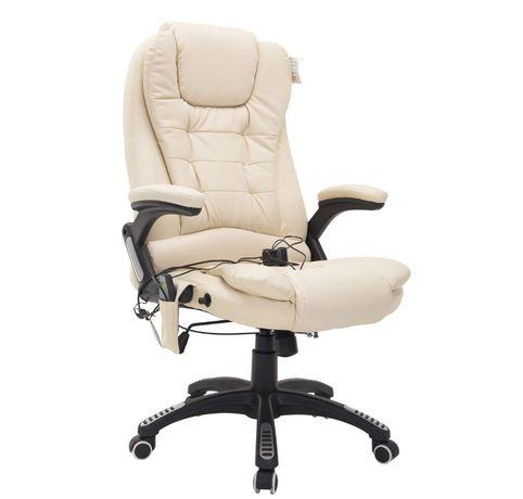 Fotel biurowy do masażu z funkcją grzania kremowy