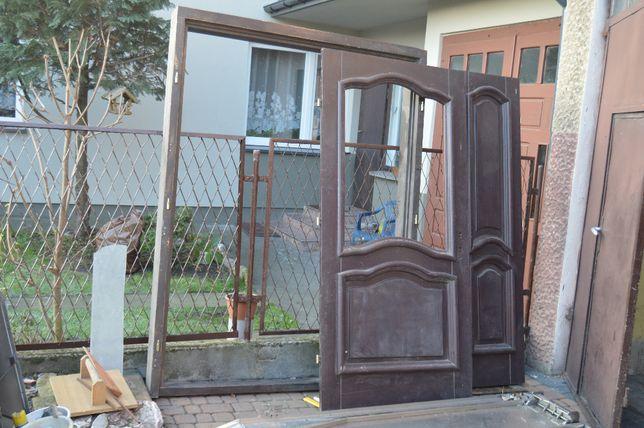 dwuskrzydłowe drzwi dębowe, lite drewno, solidne, ręcznie wykonane