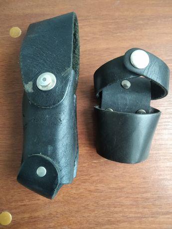 Кожаные милицейские чехлы для газового балончика и дубинки.