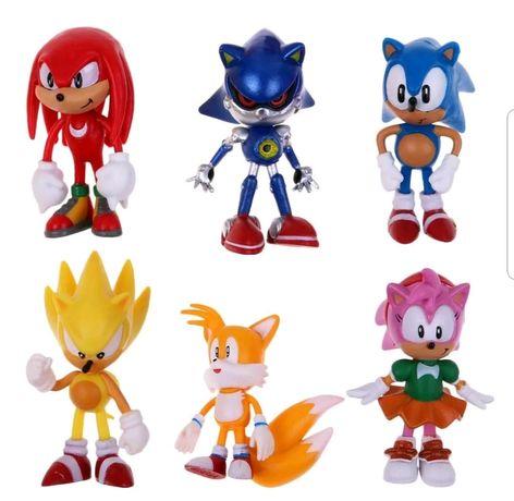 6 pcs Sonic Topo de Bolo Cake (Portes Incluídos)