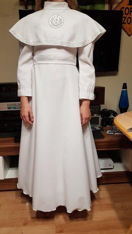 Śliczna sukienka komunijna z haftem greckim ok. 146.
