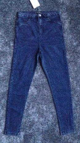 Bershka jeansy marmurki 38 rurki wysoki stan high rise spodnie