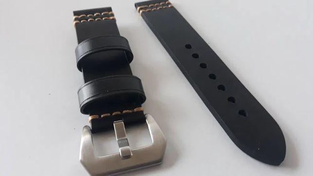Bracelete Pele Preta  20mm 22mm 24mm