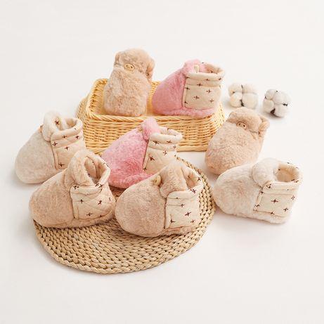 Детские плюшевые пинетки   Обувь на малыша из меха   Меховые сапожки
