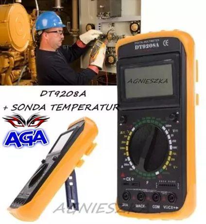 Miernik Multimetr Cyfrowy z Temperaturą Sonda DT9208A