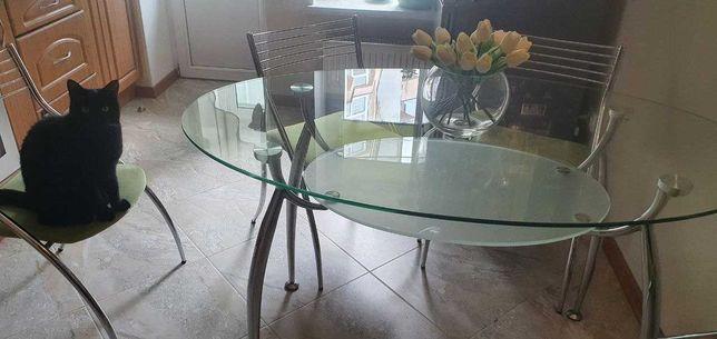 Продам стіл скляний кухонний з стільцями
