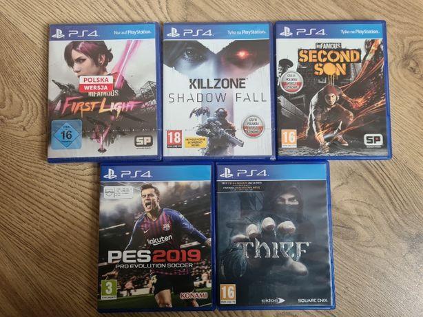 Gry PS4, zestaw 5szt, PL, PES 2019, inFamous, Thief, Killzone