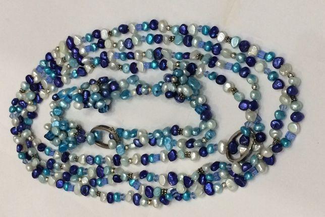Ожерелье и браслет натуральный жемчуг ! Речной , голубой жемчуг !