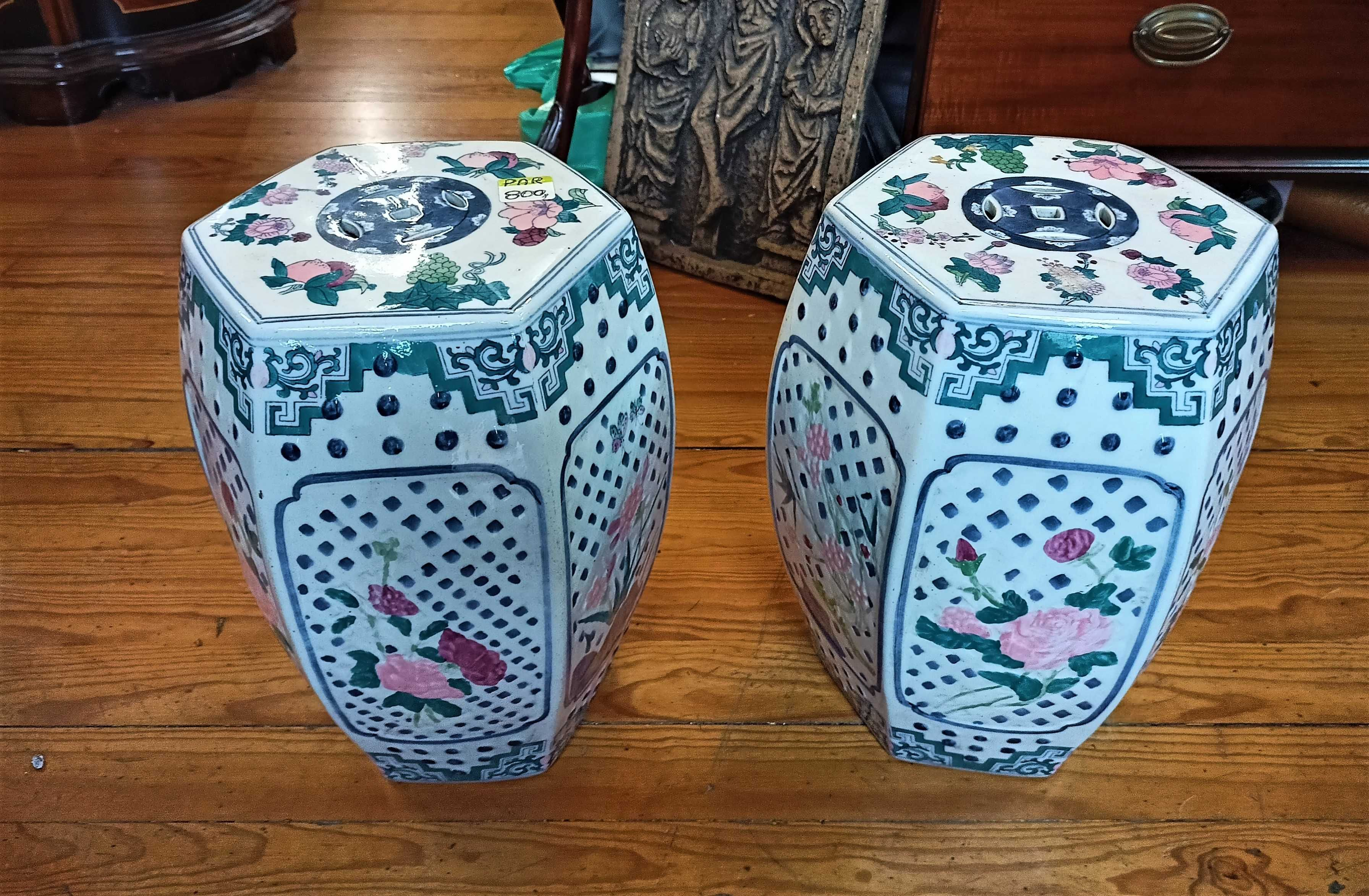 Par Bancos Jardim Cerâmica Chinese
