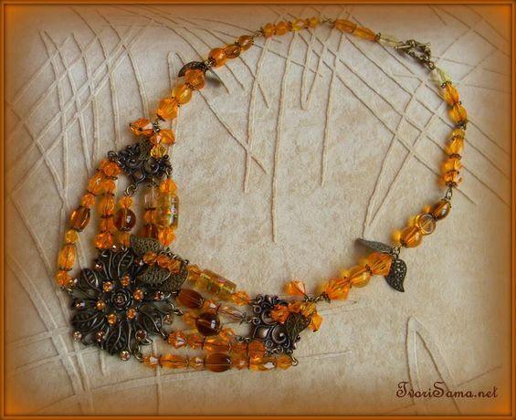 """Ожерелье ручной работы """"Оранжевая осень"""""""