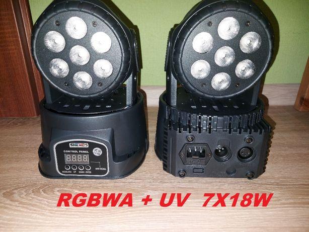 Głowa głowy ruchome Beam Led RGBWA + UV 7x18W - NOWE !!!