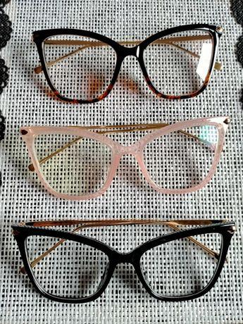 Okulary oprawki korekcyjne kocie panterka czarne transparentne