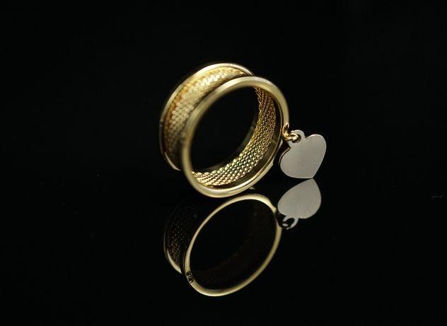 Złoto 585-Złoty pierścionek obrączka serce rozm 17