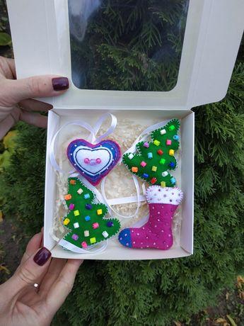 Ёлочные игрушки из фетра ручной работы подарок сувенир новогодняя ёлка