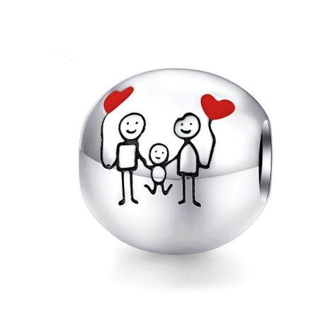 Srebrny charms rodzina mama tata dziecko dom do bransoletki Pandora