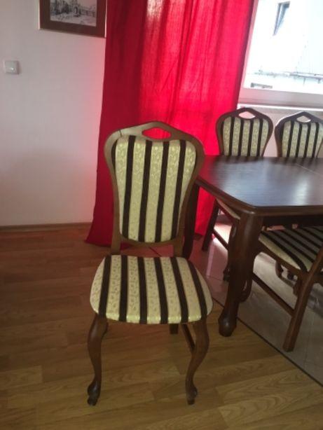 Krzesła drewniane ozdobne nowe, stół drewniany do kompletu
