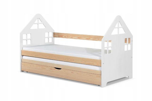 Łóżko podwójne DOMEK z wysuwanym dolnym spaniem i skrzynią na pościel!