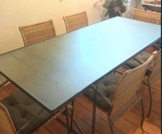 Conjunto mesa de refeição em vidro temperado + 6 cadeiras verga. Novo!