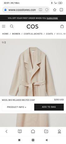 Пальто COS молочно белое