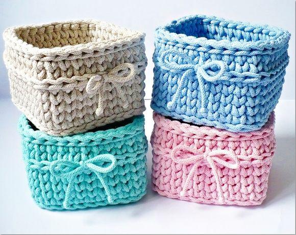 Koszyki kwadratowe ze sznurka bawełnianego - komplet 3 sztuk