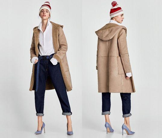 ZARA nowy kożuch beż camel zima kożuszek płaszcz M 38 dwustronny maxi