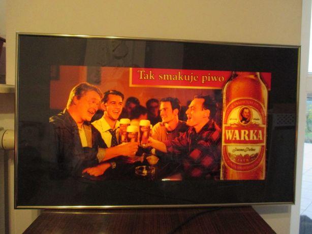 Stara reklama podświetlana świetlna kaseton Warka - Gadżety piwne