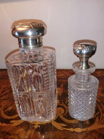 2 Frascos em cristal lapidado com tampas em prata portuguesa