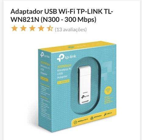 Adaptador USB Wi-Fi TP-LINK TL-WN821N (N300 - 300 Mbps)