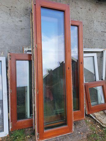 OKNO/DRZWI Balkonowe Mahoniowe Drewniane Tarasowe 68x230cm 2 sztuki