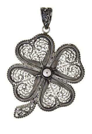 Pendente em formato flor em prata filigrana portuguesa 925