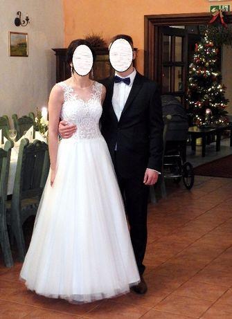 PILNE Piękna suknia ślubna r. 34-36 koronkowe plecy