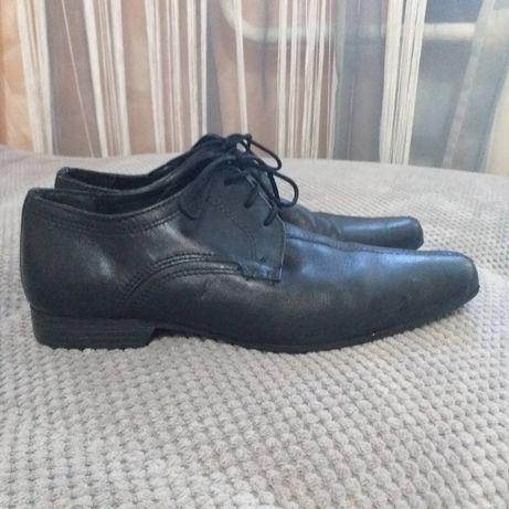 Кожаные мужские подростковые туфли школьная обувь 37 рр