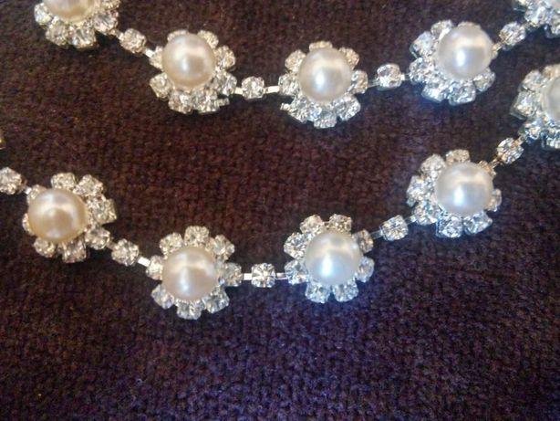 Ozdobny nowy naszyjnik (kolia)+ kolczyki , biżuteria ślubna