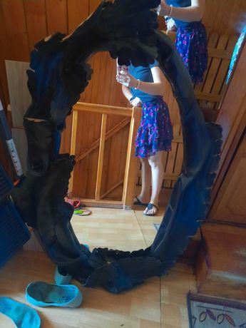 Lustro czarne skora skorzana rama