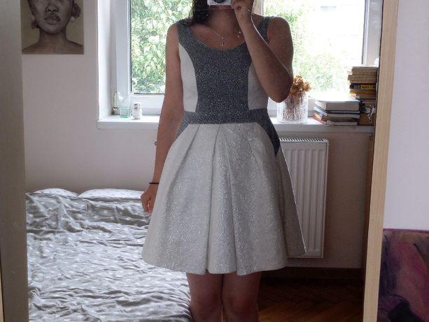 Sukienka XS na wesele poprawiny / dla druhny / połyskująca biała