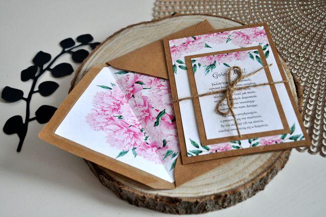 Zaproszenie Rustykalne kwiaty-piwonie