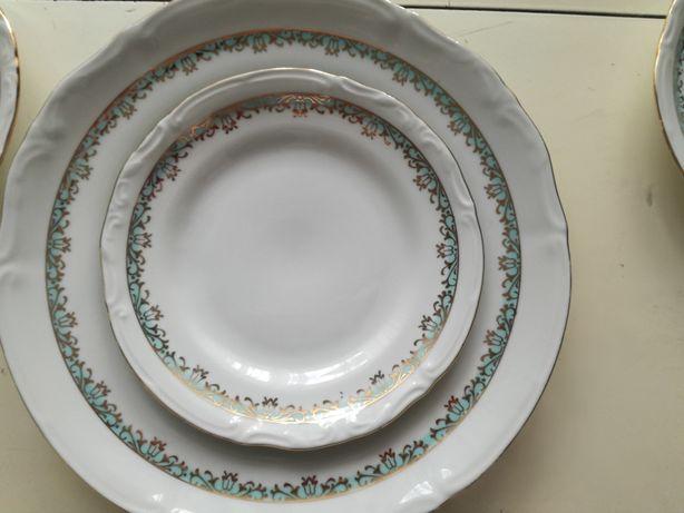 Duży talerz oraz talerze deserowe (6szt) z miętowym dekor. CHODZIEŻ