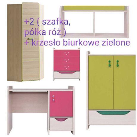 Komplet Meble dziecięce BRW HiHOT 6 elem. + szafa narożna + fotel biur
