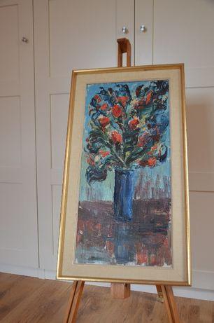 Obraz kwiaty malowane na płótnie. Sygnowany PEL 65' . Szwecja