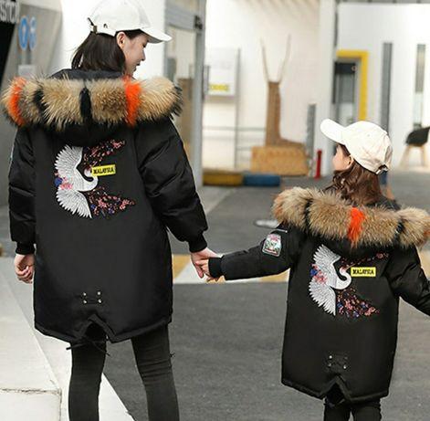 Cтильные молодежные пальто с вышивкой на спине р.130-167 см парка хаки