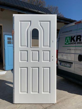 Drzwi drewniane OCIEPLANE zewnętrzne białe OD RĘKI