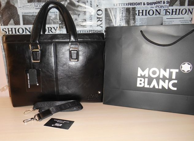 Skorzana męska torba teczka aktówka Mont Blanc, skóra, Niemcy 1039